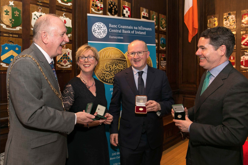 Pictured at the launch, the Lord Mayor of Dublin, Nial Ring, Minister Regina Doherty, Governor of the Central Bank, Philip Lane, Minister for Finance, Paschal O'Donoghue.
