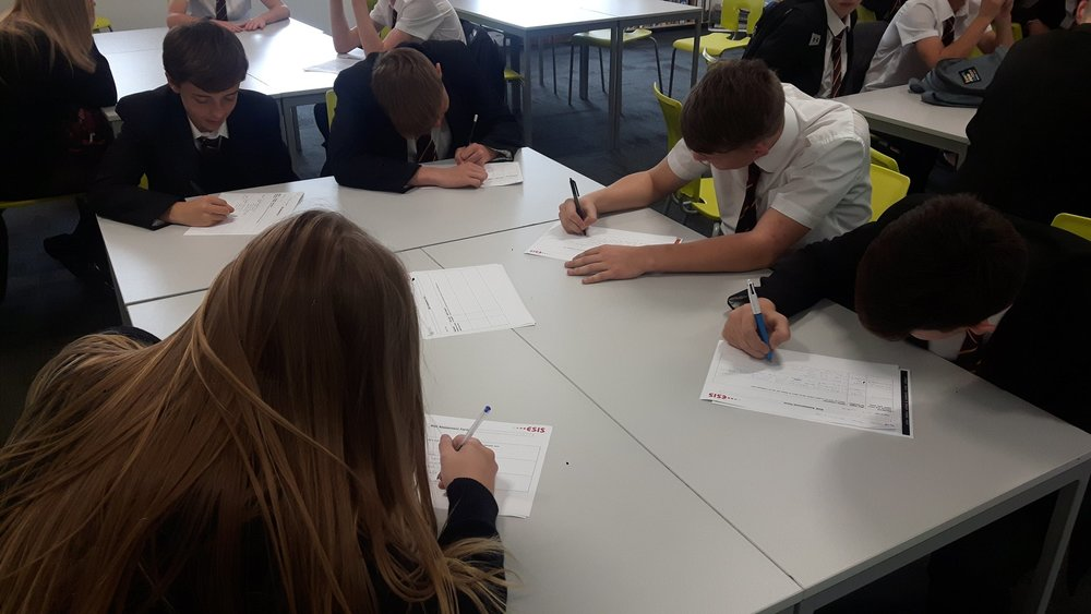 """""""Year 11 GCSE working on their Risk Assessment for their Mt Walk next week"""""""