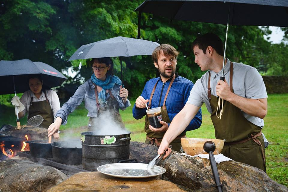 Brigaid  chefs Angeline Chiang (left) and Tyler Guerin (right) cooking alongside René Redzepi of  Noma  (middle right) and Nicole Krasinski of  State Bird Provisions  and  The Progress  (middle left).