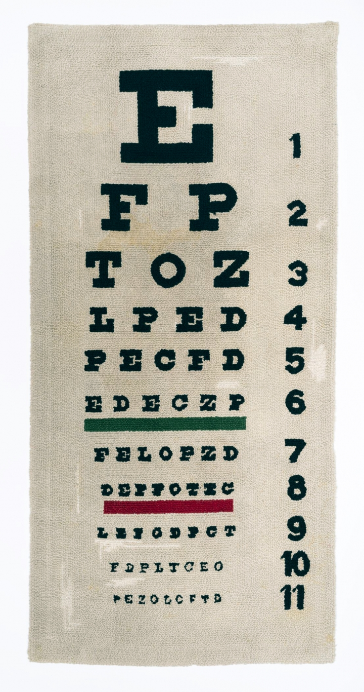 "Dorothy Grebenak, ""Eye Chart"" (1964), wool, 32 ½ x 68 in."