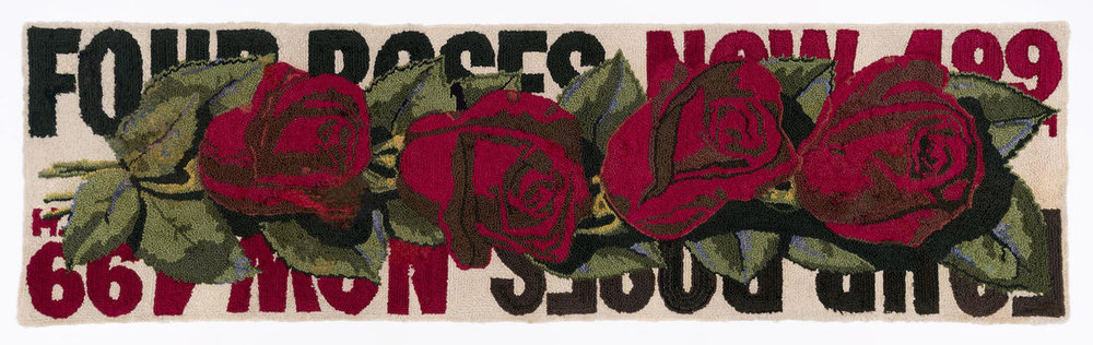"Dorothy Grebenak, ""Four Roses"" (1964), wool, 26 x 90 in."
