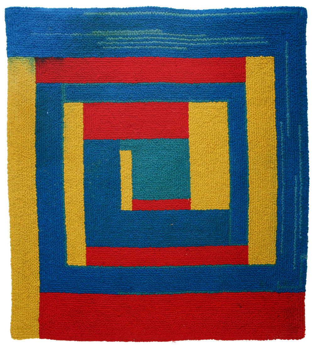 "Dorothy Grebenak, ""Yellow, Red, Blue"" (1964), wool, 36 x 32 in."