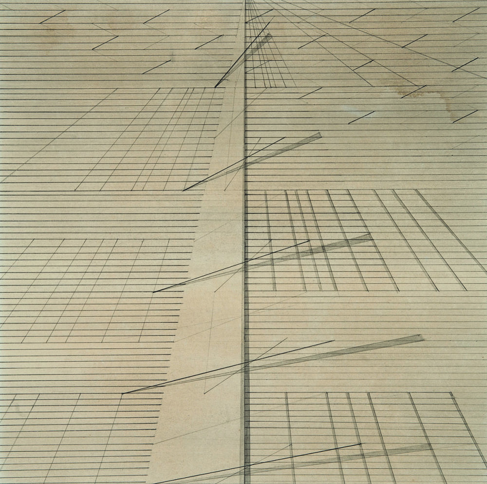Untitled drawing by Nasreen Mohamedi, ca. 1975.