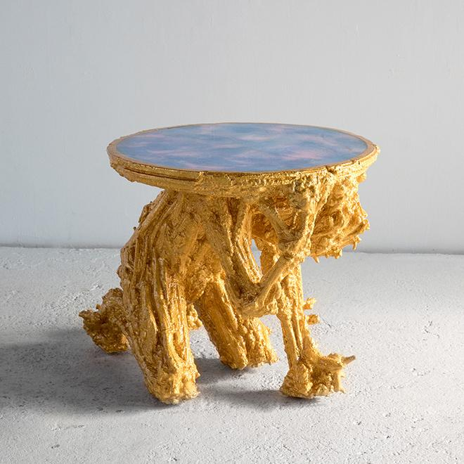 Chris Schanck,  Gold 900,  2018. Wood, burlap, polystyrene, resin, aluminum