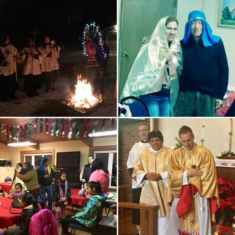 Adviento y Navidad - Adviento marca el comienzo del año litúrgico de la Iglesia y es un tiempo de preparación. Anticipamos a Dios tomar carne humana en el nacimiento del niño Jesús. Al igual que la Cuaresma, es un tiempo de reflexión y penitencia, pero con diferentes historias y temas. Marcamos nuestra espera por el Hijo de Dios por medio de encender las velas de la corona de Adviento cada semana, acercándonos a la Encarnación. Celebramos también la Fiesta de Nuestra Señora de Guadalupe con una hoguera,una procesión de la Virgencita, y muchos cantos dedicados a la aparación milgrosa a Juan Diego. La parroquia participa en la tradition navideña de las Posadas, con fiestas organizadas en la iglesia y en los hogares de nuestros feligreses. En la víspera de Navidad, tenemos una misa bilingüe de familia con la procesión del niño Jesús al a pesebre.