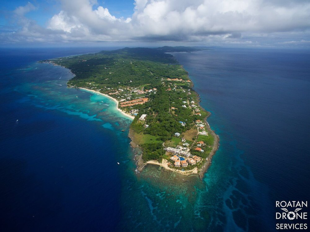 """The Point"" in West Bay, Roatan.  [Photo Credit]: Roatan Drone Services"
