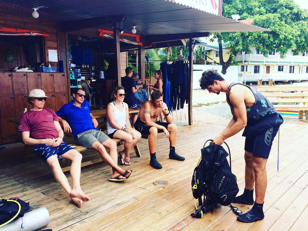 Divemaster Trainee demonstrating equipment setup for Instructors and fellow DMT's.
