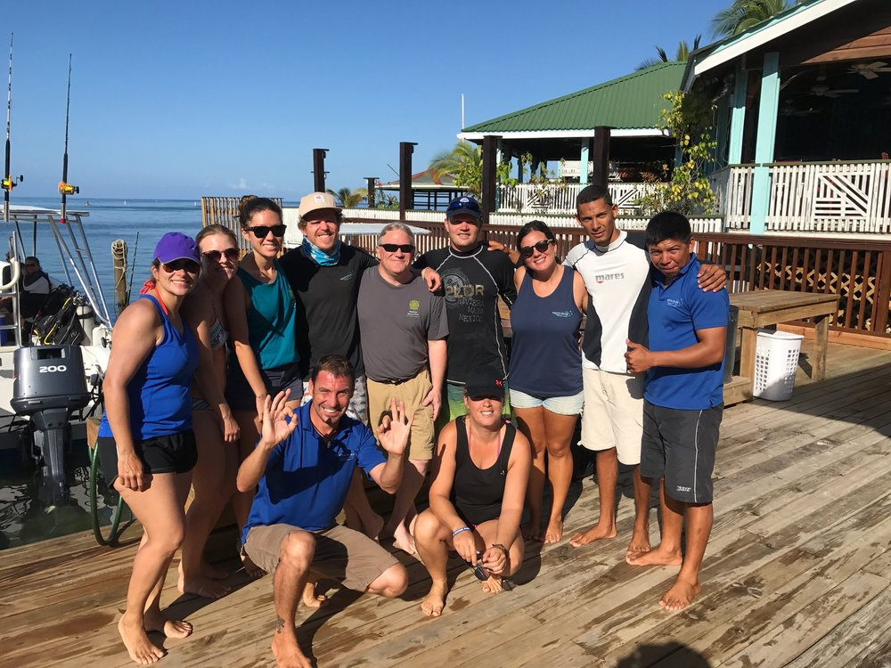 Danny (in the grey Roatan Marine Park shirt) with the Roatan Divers team in March 2017