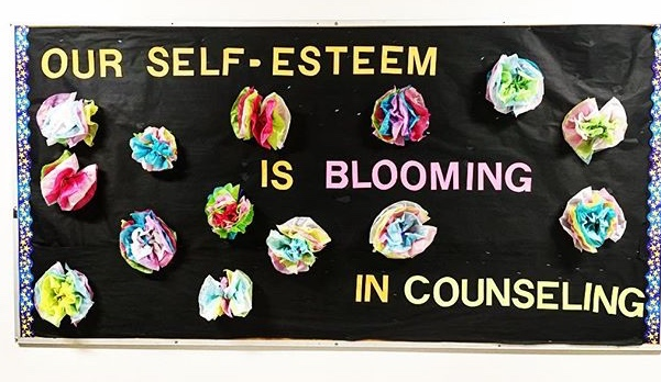 After my girl's self-esteem group ended I created this bulletin board. The girls created the flowers out of tissue paper as a closure activity for the last session.