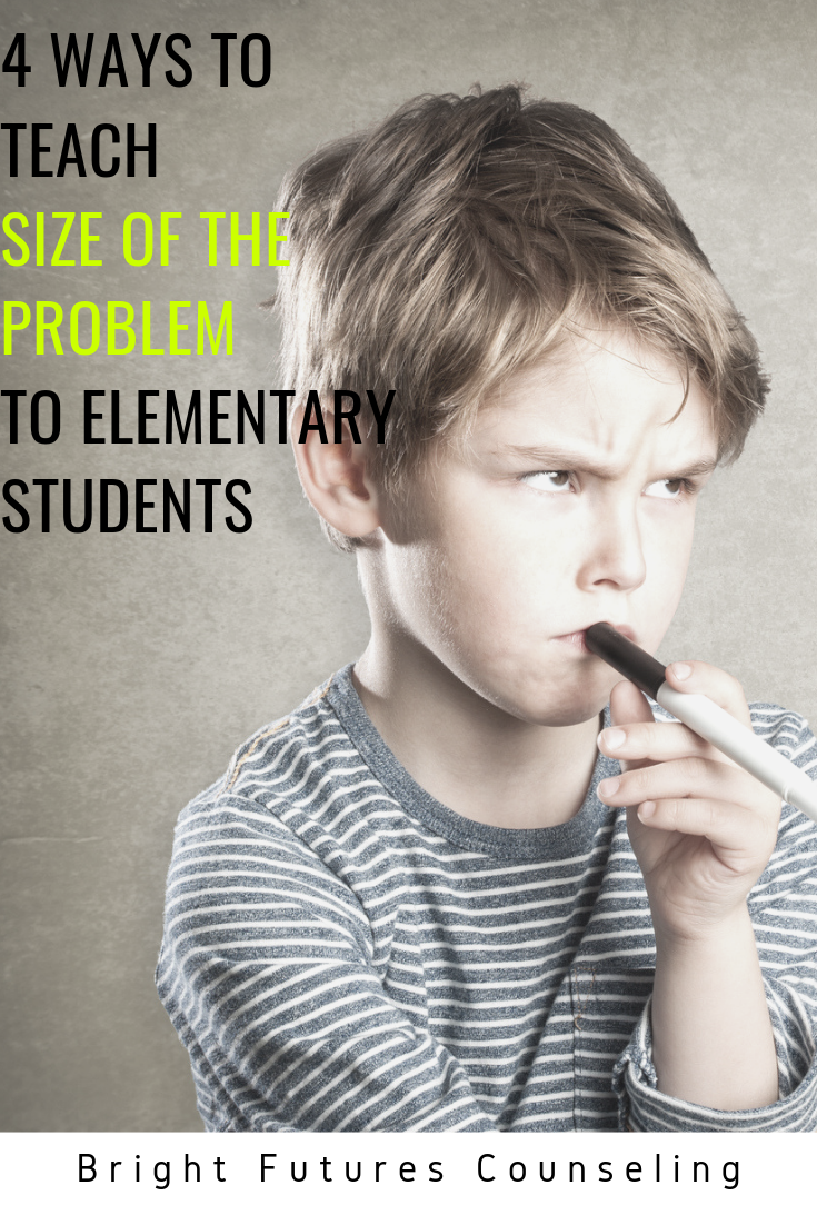 Teach students size of the problem self-regulation strategies and how to determine appropriate reaction sizes to their problems with these 4 teaching methods. #brightfuturescounseling #elementaryschoolcounseling #elementaryschoolcounselor #schoolcounseling #schoolcounselor #socialskills #selfregulation #zonesofregulation