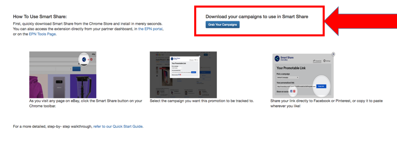 """Screenshot of EPN Smart Share portal landing page with """"Grab Your Campaigns"""" highlighted."""