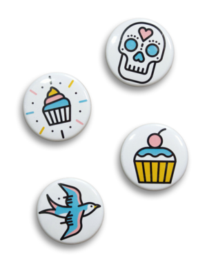 pin badges cupcake jemma