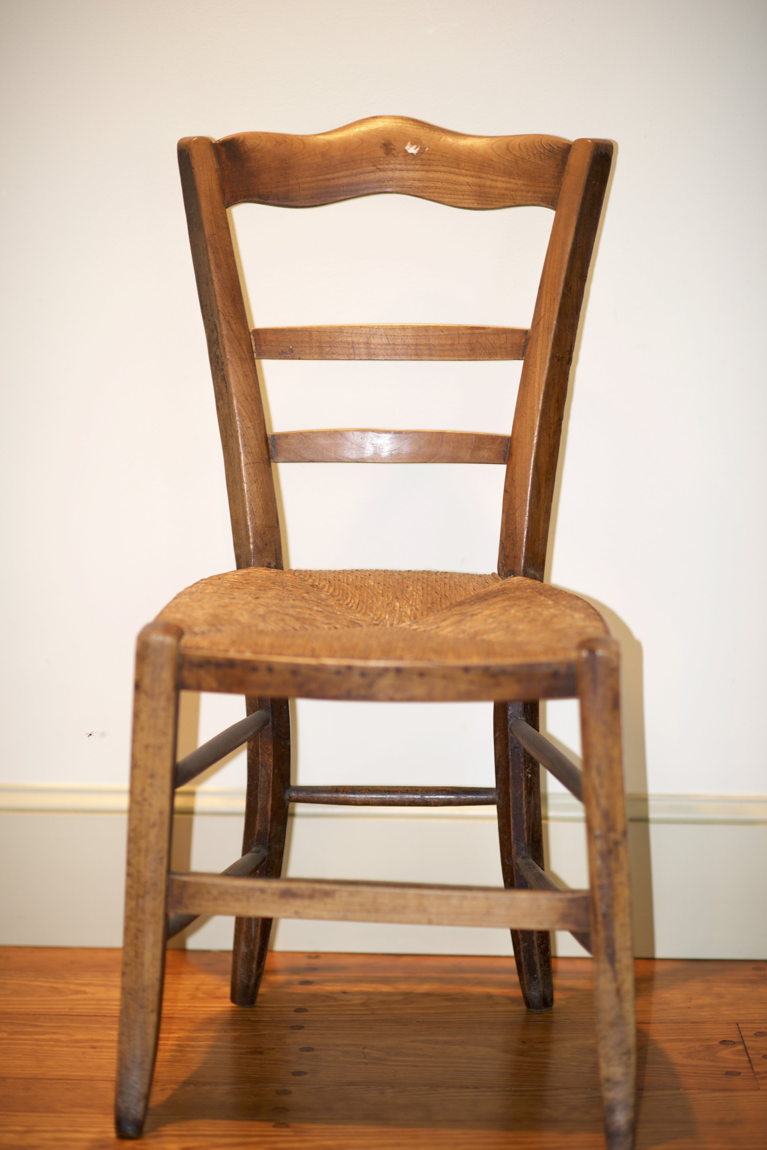 6 French Country Chairs With Rush Seats In Blond European Wood And Original  Rush.