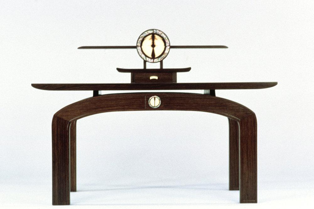 "Ancestral Table (48""W X 22""D X 24""/36.5""H): Estonian bog oak, woolly mammoth tusk, & green abalone"