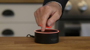 """Alexa turns red when she's in """"mute"""" mode."""