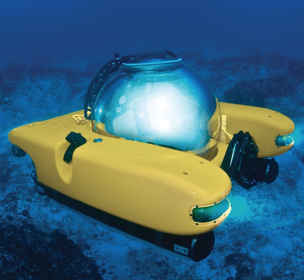 Personal Submarine : Explore coral reefs, shipwrecks and other underwater treasures in your own two-person submarine. The temperature controlled cabin includes an underwater telephone.