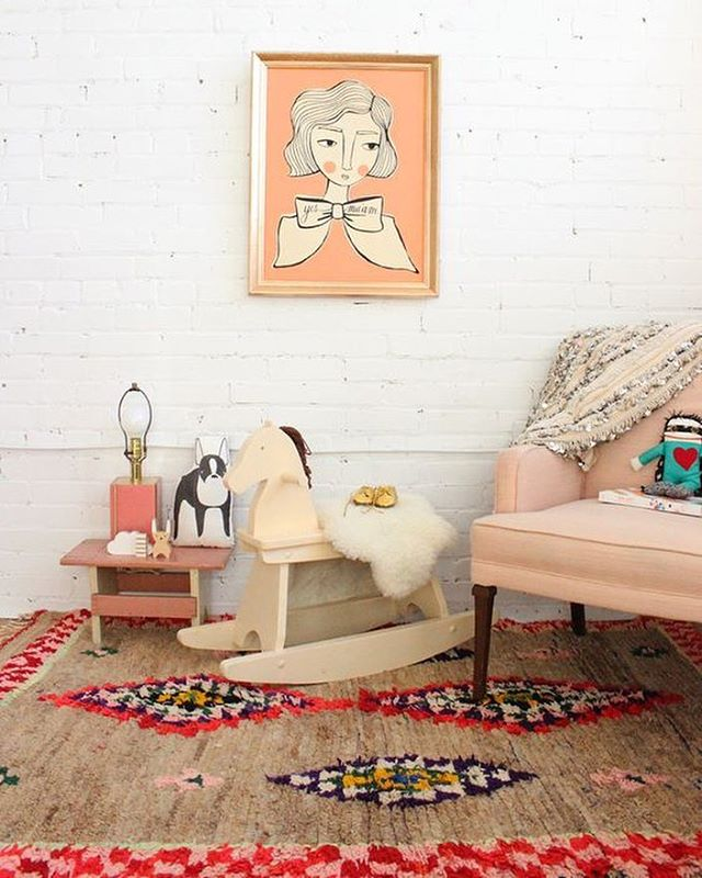 Isn't this darling! You can create a similar girly-eclectic-chic room (at least that's what I'm calling it) yourself by shopping this look on the website. Including a blush pink chair around $200, the exact art piece on the wall, and a curated selection of boucherouite rugs. Why.... because I like you. ( ˘ ³˘) xo #ifounditforyou