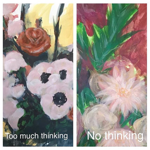 I never thought I would share these. (Check out my story for both pieces in full!) Sometimes(in creating art and everywhere else) you get too caught up in your head. I know I do and these pieces are a reflection of that.  I know, I know. The right one says not thinking at all. But the truth is that while I was painting it, I wasn't thinking and I was just messing around. When I finally stepped back though it was another story.  I questioned what I had even created. 🤨 I bet you know what I'm talking about. Feeling really good doing something, then pulling back and seeing everything and not being happy. 😕 I've found that there is a sweet spot for how much thinking I need to do(I'm still working on it though because overthinking was my specialty). 😬 Are you an over thinker? What do you do to combat your own mind? 🤷🏼‍♀️ ~ #creatingsunflowers #albertaartist #overthinking #artistproblems #arting #badart #arttips #artprogress #draweveryday #justdraw #coloraddict #mystudio #colorventures #workoftheday #worksonpaper #womenwhopaint #acryliconpaper #mywork #coolart #instaartsy