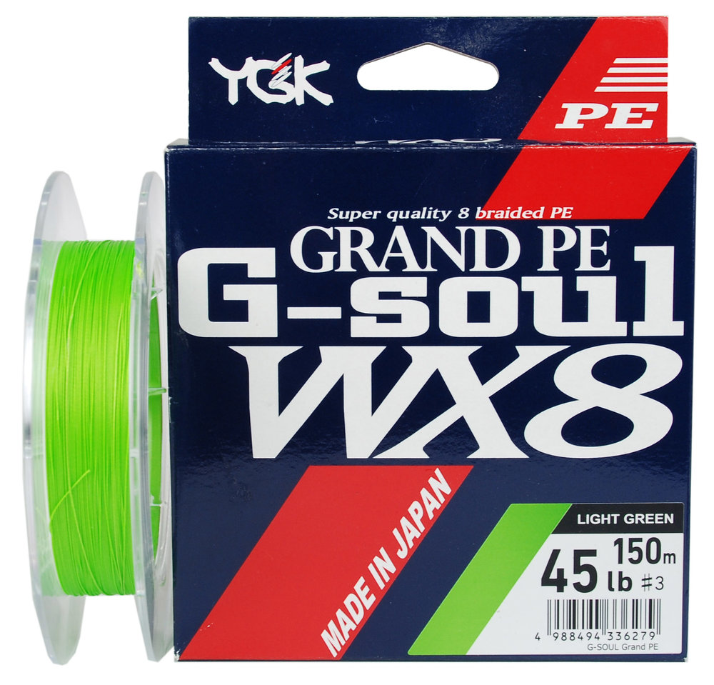 G-Soul Grand PE - Feita com 8 fios trançados no método WX, produzida com um novo tipo de polietileno denominado Grand Pe. Possui diâmetro uniforme, tornando-a mais fina, macia e resistente. Possui coloração esverdeada (300m verde escuro e 150m verde fluorescente).