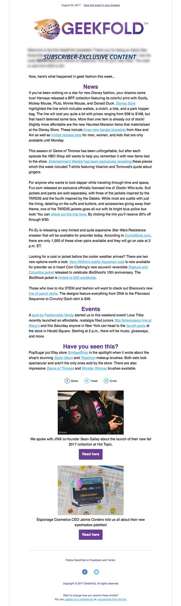 GeekFold Sample Newsletter