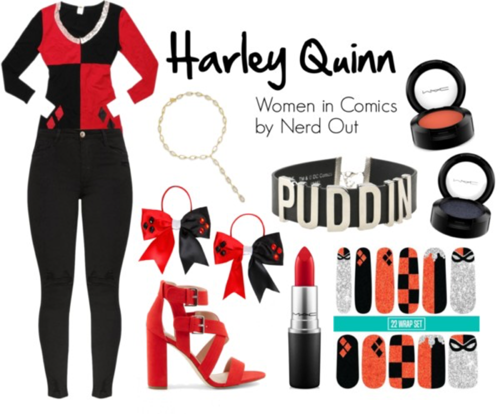 Harley Quinn  by  nerdout  featuring a  mac cosmetics lipstick      Denim skinny jeans    /    Costume    /    New Look red high heel shoes   , $42 /    DC Comics black and silver necklace    /    NOir gold tone necklace    /    DC Comics bow hair accessory    /    Mac cosmetics eyeshadow    /    Mac cosmetics lipstick    /    Mac cosmetics eyeshadow   , $20 /    Nail care
