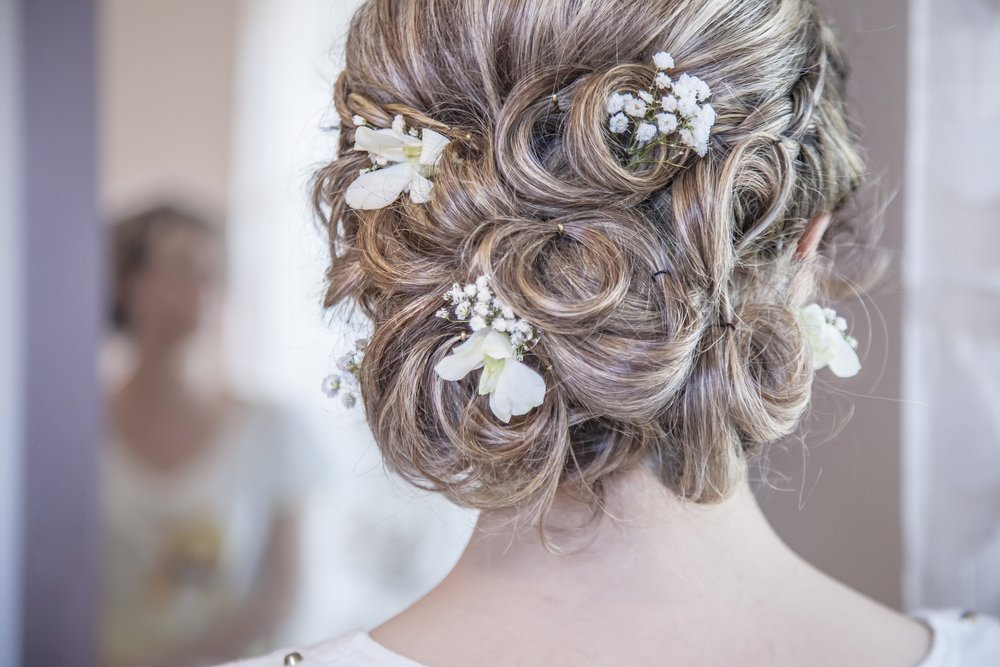 A bride with flowers in her hair