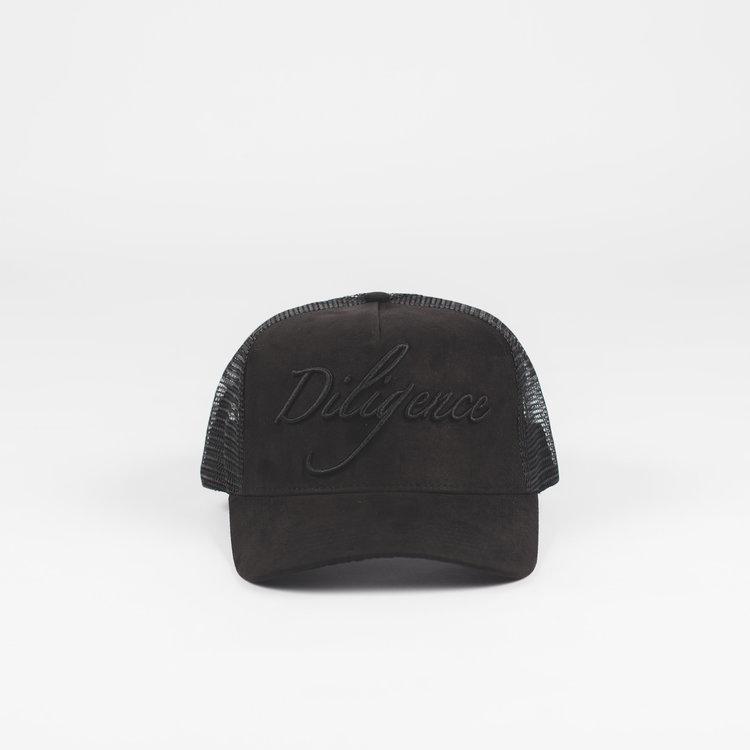 24247a1244 Black Suede Trucker cap — Diligence Headwear