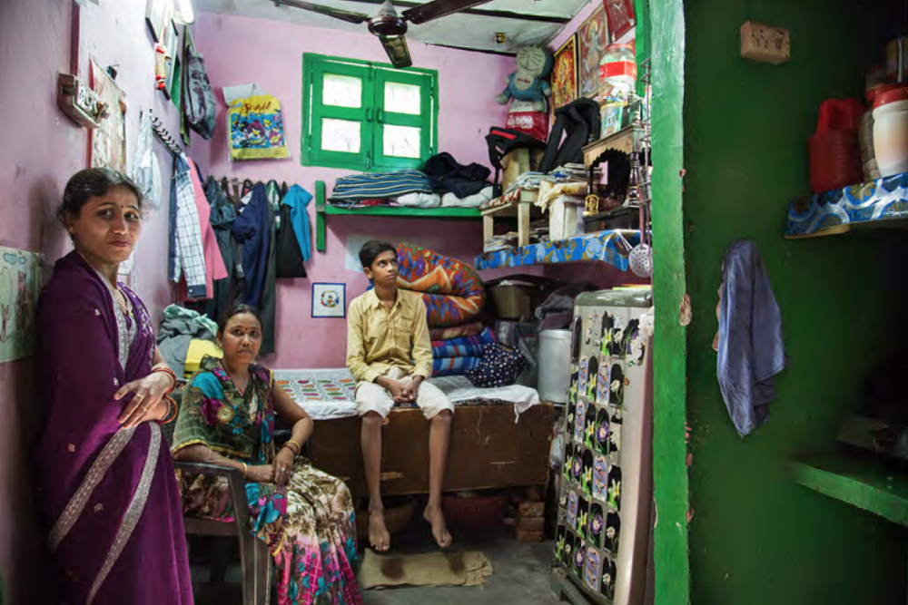 Maryami is living with her mother and son in a very tiny room, they share the house which has two rooms with another family. Maryami is taking care of her son and mother financially, and she works at a female clothing store.