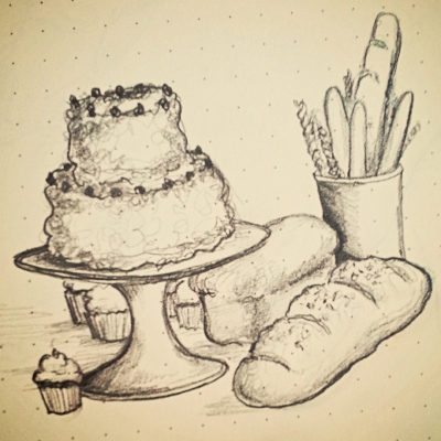 Pencil sketch of baked goods. Bethany C. Gotschall, 2015.