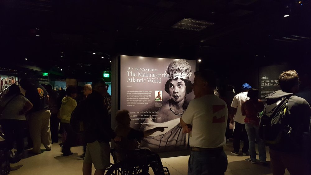 Visitors exploring the first gallery in the Slavery and Freedom exhibition.