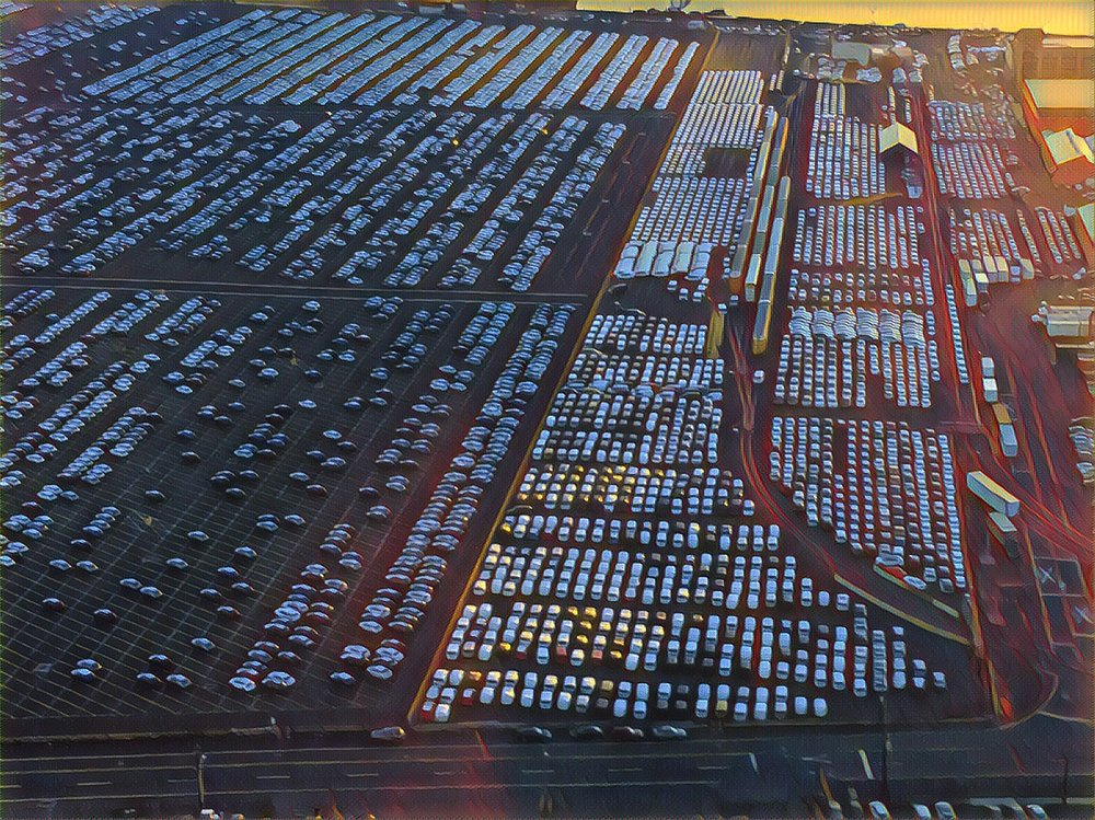 Brand New Car Lot from American Airlines Flight to Newark, NJ (as Gursky)