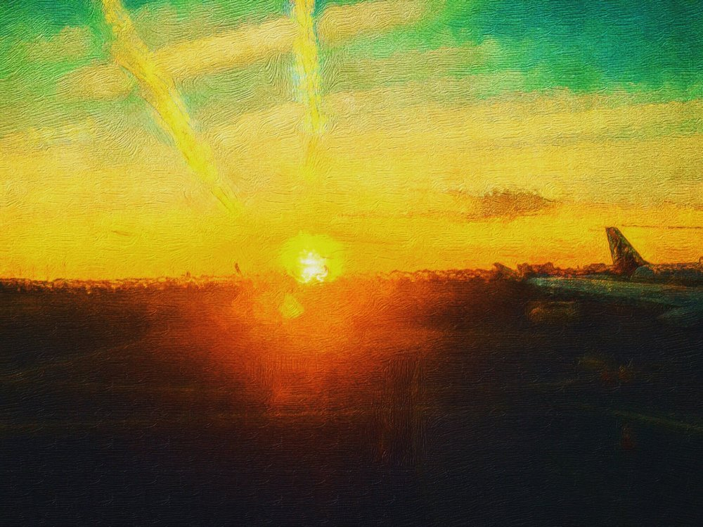 Sunset from Terminal at Newark Liberty International Airport