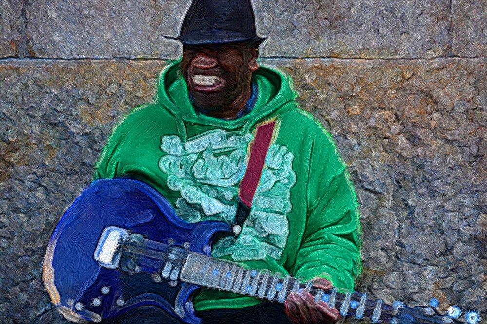 Blues Musician Outside Reading Terminal Market, Philadelphia