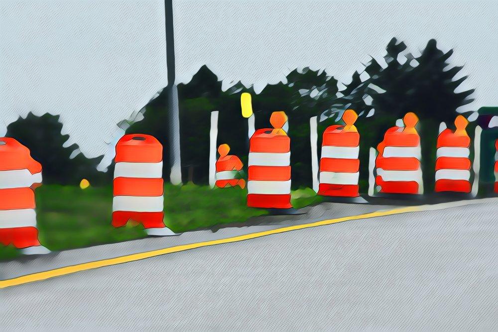 Orange Cones of Road Construction