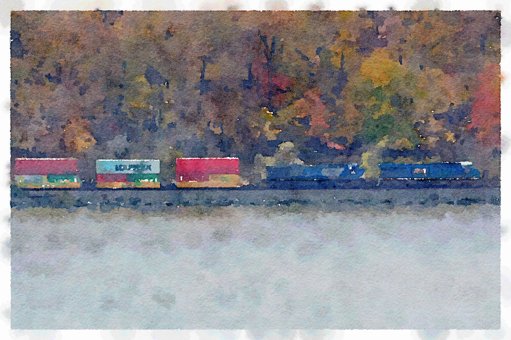 Freight Train along the Hudson River