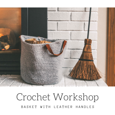 CROCHET HOME DECOR BASKET WITH LEATHER HANDLES