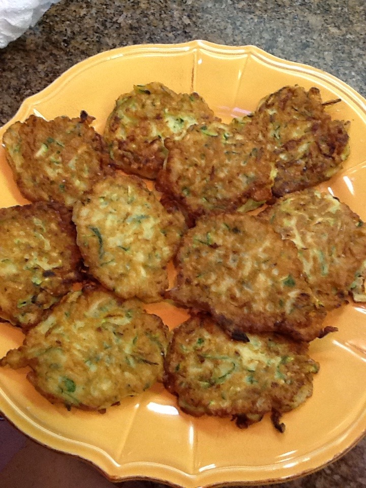 Zucchini pancakes    There is an abundance of summer squash in the markets right now. I have been buying many different varieties in my local farmers market. Any type of squash will work for this recipe.     2 pieces of zucchini grated** see note below  ½ onion, minced  2 Tbsp. minced parsley   2-3 Tbsp spelt flour  1 egg  ½ tsp. salt  2 Tbsp olive  oil  Note:  **drain the zucchini or squeeze the moisture out in a paper towel.   Mix all the ingredients together.  Heat a skillet , add the olive oil.   Scoop by spoonful and fry the pancakes about 4 minutes aside. Drain on paper towels. And just enjoy.