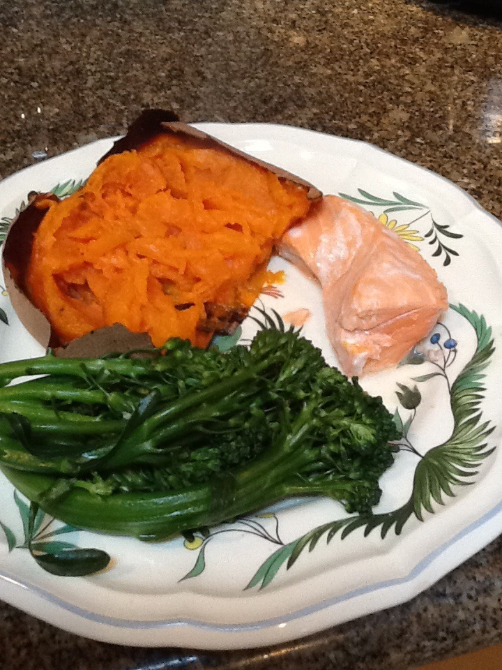 Here is the quick and very easy dinner I made last night. Within an hour  it can be on your plate.   Preheat your oven to 425 degrees .   Scrub and wash a sweet potato or a yam. Poke  with a fork or knife so steam can escape. Put it on a cookie sheet and bake for one hour.   45 minutes into the cooking, place the broccoli  in a steamer. Place the salmon in a baking dish. Sprinkle with a little salt and pepper. Squeeze a few teaspoons of fresh lemon juice on top.   Steam the broccoli and bake the fish. The fish should be done in 12-15 minutes.     Tip. Zest the lemon and sprinkle on the broccoli. It gives it a great punch of lemon flavor.