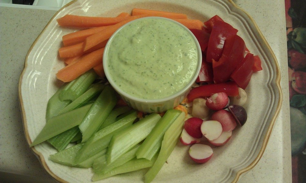 Need something at the last minute because friends are coming over? Try this for an alkaline snack to serve.    For the dip:    I cup Greek style Yogurt    1 cucumber, seeds removed   1/3 cup parsley    Blend all together, If you prefer you can add a little hot sauce to this dip. Pour into a serving dish.    The Vegetables:    2 stalks of celery, sliced    2 carrots, sliced    A bunch of radishes   1 red bell pepper    Note: you can use any raw vegetables that you prefer. And if you like it a little sweet, add 1 tsp of honey.