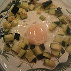 Breakfast    Fried Egg with Zucchini   1 cup diced zucchini   1 egg   1 tsp. clairified butter   salt and pepper   In a small frying pan, heat the butter and saute the zucchini about 3 minutes. Using a spoon, move the zucchini to the outer edges of the pan to form a circle.   Drop the egg in the middle and season with the salt and pepper.   Cover pan  and cook about 3 minutes until the egg is done.
