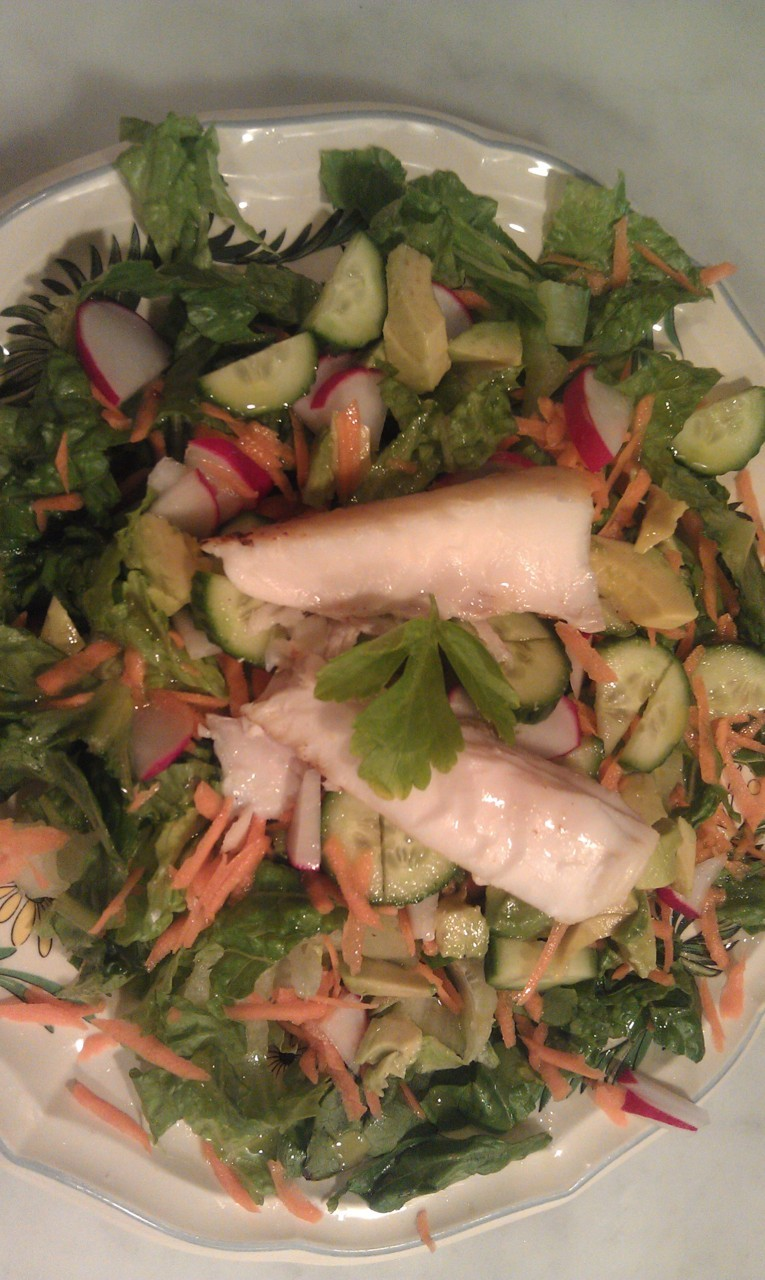 This is another salad entree. Good for lunch or dinner.    I simply made a green salad of what I had in my refrigerator. This time it was some cucumber, parsley, celery, radishes, and some grated carrot.    Then I topped it off with some delicious fresh Halibut that I just put under the broiler for about 12 minutes with a little bit of clarified butter, and the juice of 1 lemon. A 4 ounce portion of fish for a women and a 6 ounce portion for a man is the right ratio for an acid food mixed with an alkaline salad. Especially because I served this with my roast potatoes.