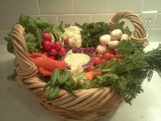 This is another vegetable basket that I recently made to bring to a friend's house. It being a holiday weekend, I thought it would be a good idea to introduce it again. For this basket, I lined it with lettuce leaves to bring up the bottom of the basket.    Then, just start to build as if you were walking through a garden and just picked fresh vegetables. Radish with tops on, cauliflower, broccoli(blanch the broccoli it works better) mushrooms, cherry tomatoes, carrots with the tops on, celery sticks, snap peas, red bell pepper and ½ of a purple cabbage to hold the dip.     For the dip          1 cup non fat Greek style yogurt   ¼ cup mayonaise   1 cucumber, seeded   2 Tbsp. fresh dill   A few sprigs of fresh parsley   ¼ tsp sea salt   Place all ingredients in a blender.   Pour the dressing into the ½ piece of cabbage.