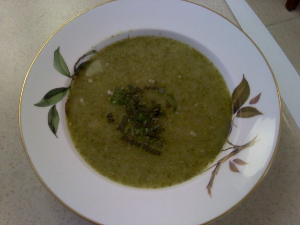 Broccoli Potato Soup   This is a good soup hot or cold.   Serves 4-6 people   Everything will go into a blender so do not worry about the shapes.   ½ onion roughly chopped   1 cup white potato roughly chopped   3 cups cooked(left over) or raw broccoli   4 cups vegetable stock (see archive post for recipe)   1 tsp. sea salt   pepper is optional   2 Tbsp Olive Oil   2 Tbsp fresh Basil Leaves (optional)   Heat a pot with the olive oil, add the onions and cook on a low flame  for about 10 minutes until onions are soft and sweet. Do not brown  them. Add the broccoli, potato and stock. Season with Salt and Pepper.  Bring to a boil, cover pot and turn down to simmer until the the  potatoes are tender, about 10-12 minutes.   Strain the soup and save the liquid. Put the broccoli and potato  mixture into a blender. Pour half of the reserved liquid. Puree. Pour  back into your pot. Add the additional liquid, stir. To serve, ladle  into bowls and sprinkle a little basil on each one. It really freshens  up the soup.