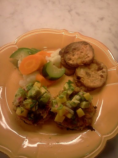 Salmon Cakes with Mango Salsa with Sweet Potato Fries and Steamed Vegetables.