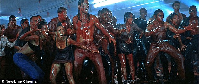 Image from New Line Cinema, depicting 'blood rave' scene from the feature film Blade (1998).