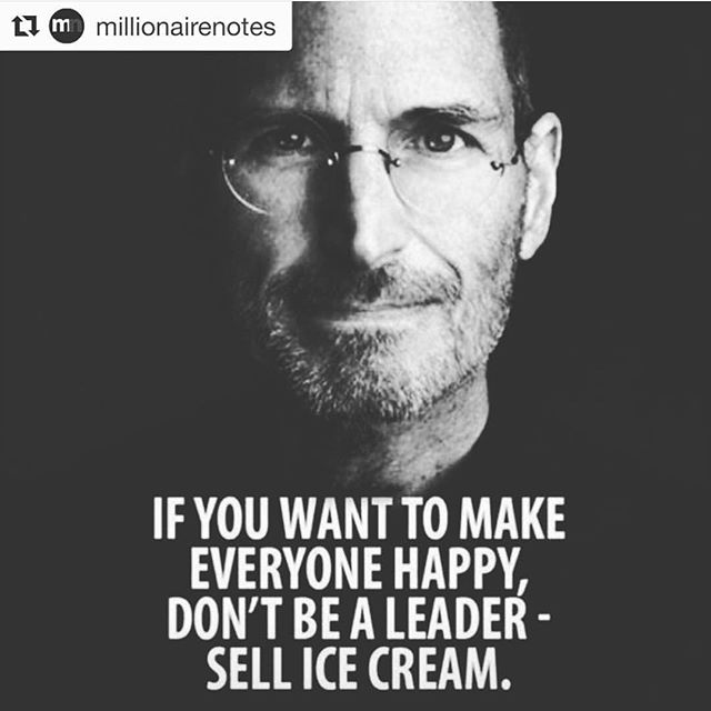 @millionairenotes posted this and I had to repost it because it struck a chord with me. As business owners, our job is to make our customers happy. As leaders, we can't always make everyone around us happy, and that's ok. Sometimes you need to make tough calls that won't make everyone happy. On the other hand, selling ice cream wouldn't be a bad gig 😂