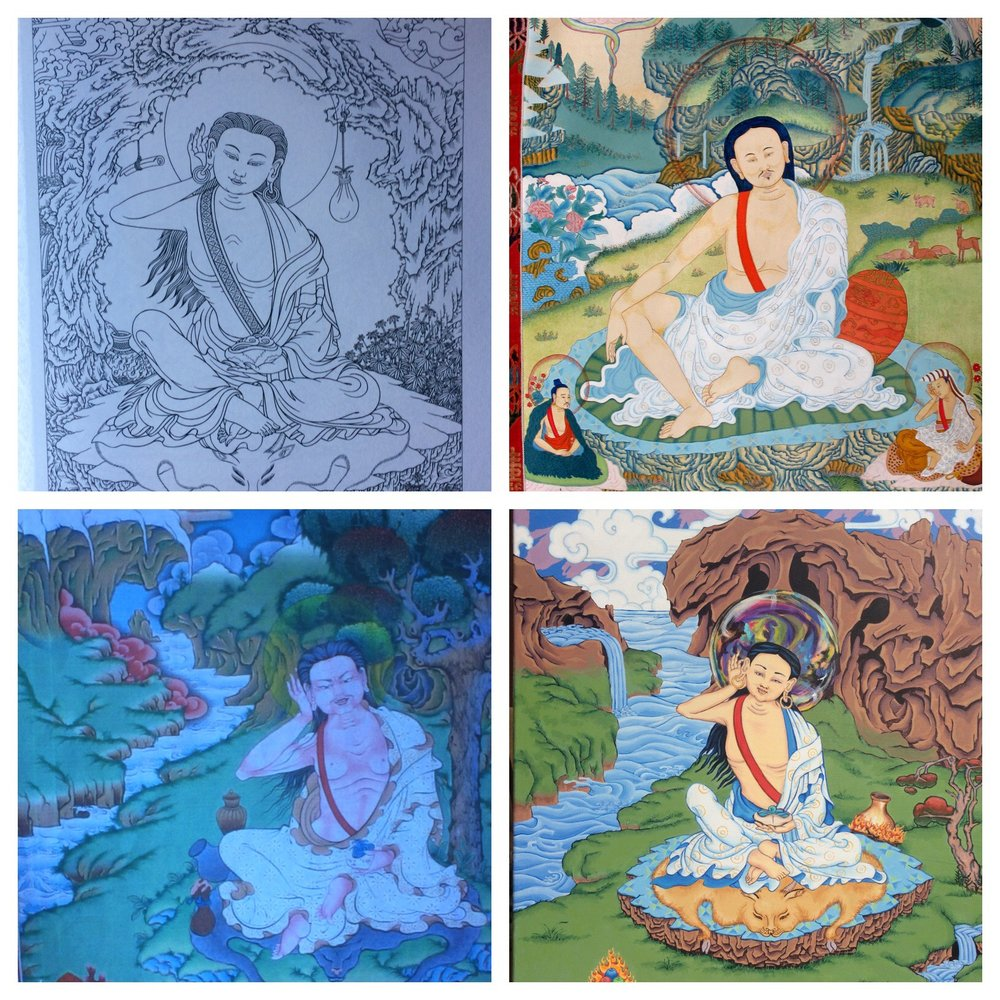 2.  Don't copy someone else's painting.  Top row: Robert Beer's Milarepa drawing and Faith Stone's. Bottom row: unknown Milarepa thangka and my thangka.