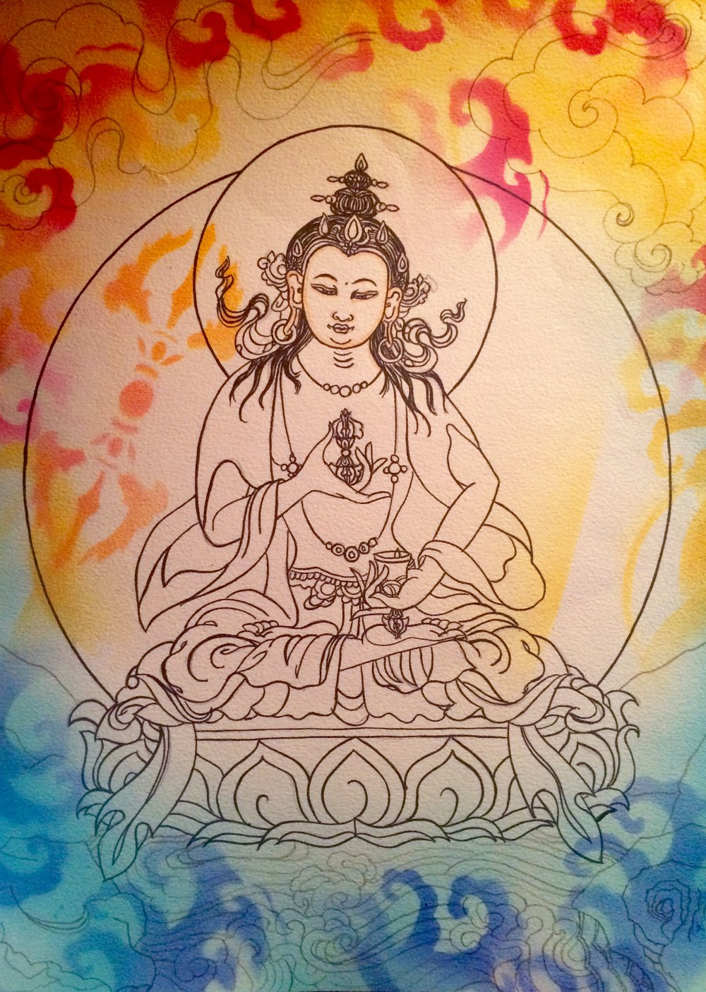 Vajrasattva drawing by Faith Stone with spray paint stencils by Gayatri
