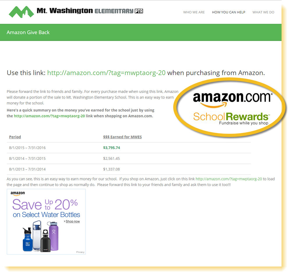 Amazon School Rewards example: Mt. Washington Elementary School Amazon online fundraiser.