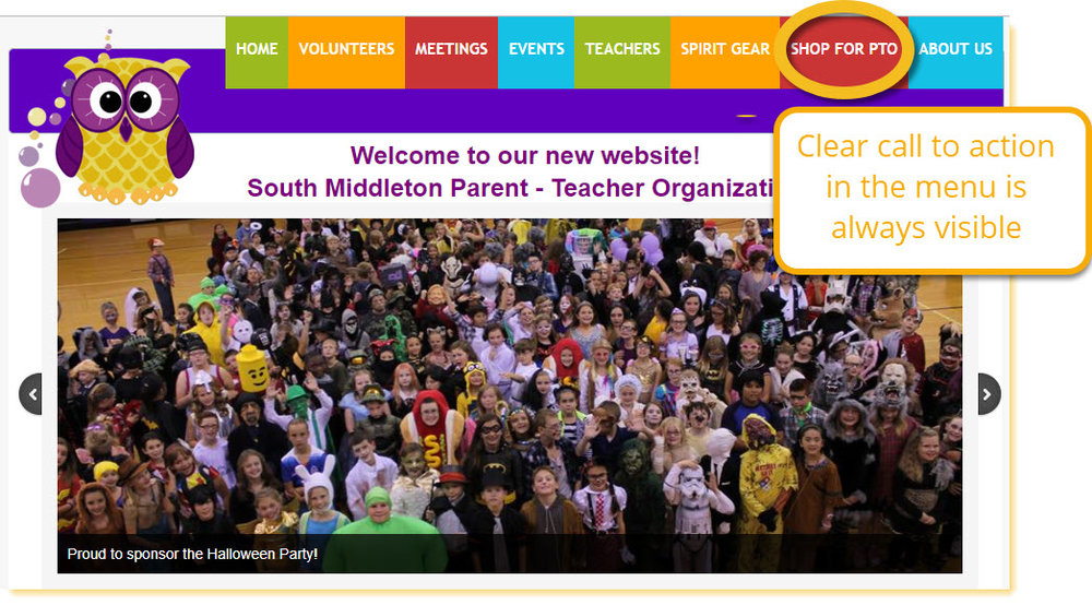 South Middleton Parent Teacher Organization home page is a good example of making your online fundraising links hard to miss by putting them in the menu that appears with every page.